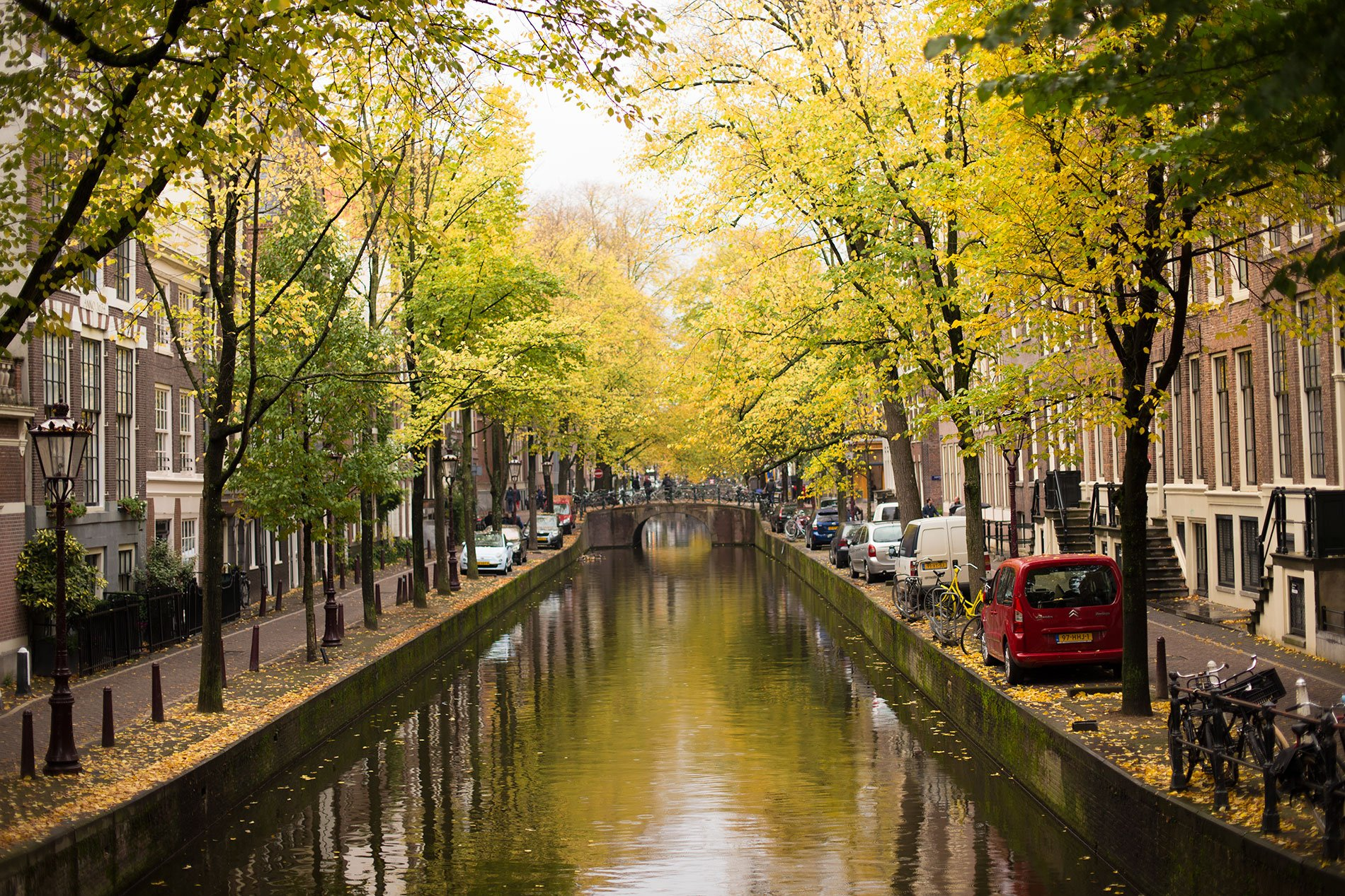 Amsterdam canals during autumn