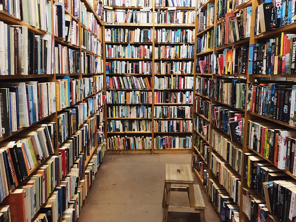 Bookshelves in a book store in Amsterdam