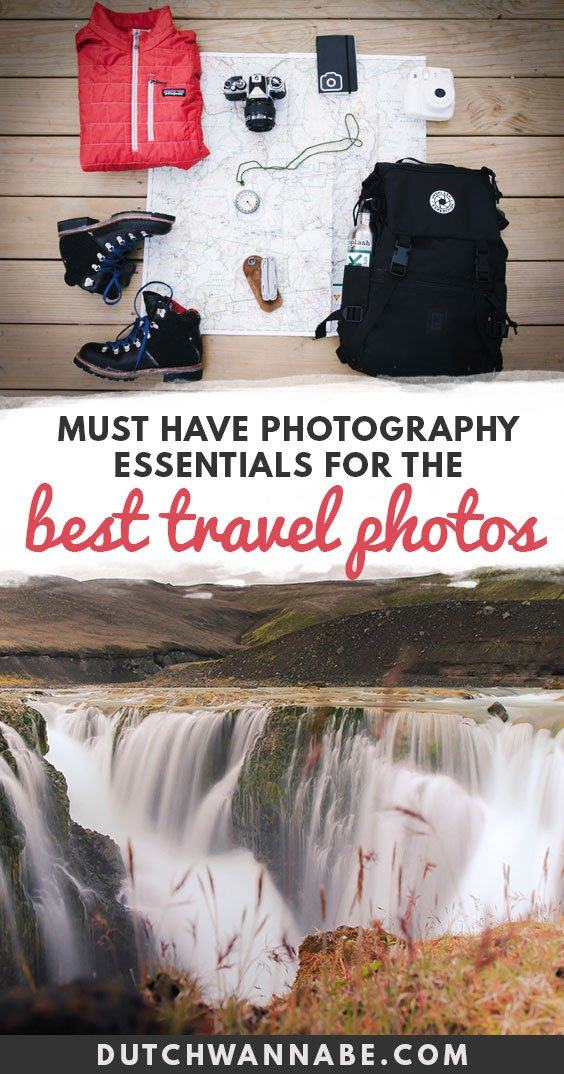 Must have photography essentials for best travel photos, which travel photography equipment to get for best pictures. Favorite camera accessories, lenses for travel, essential travel photography gear for small and light travel photography, including camera bags and backpacks, and more on Dutch Wannabe travel blog.