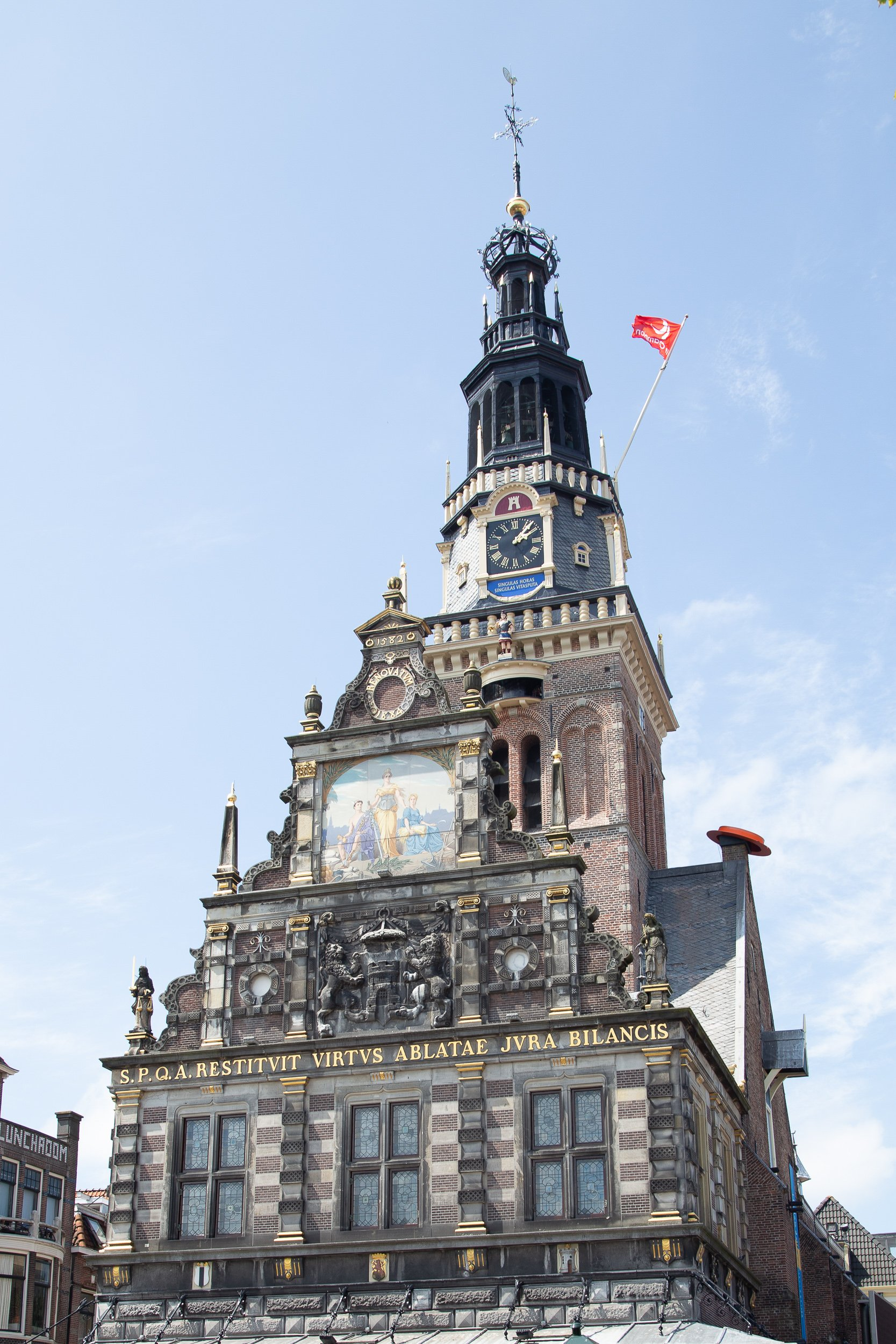 The historical building of Waag on Waagplein in Alkmaar Netherlands