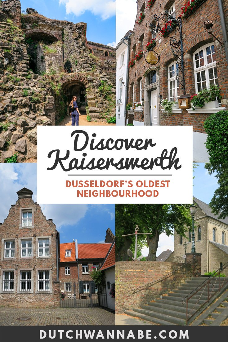 Visit the delightful Kaiswerswerth Dusseldorf which is the oldest neighborhood in Dusseldorf. It\'s a perfect day trip to the picturesque Kaiserpfalz Ruins to the 2 Michelin star restaurant Im Schiffchen. Quaint german architecture, a great biergarten and a wonderful addition to your Germany travel itinerary! #germany #travelblog