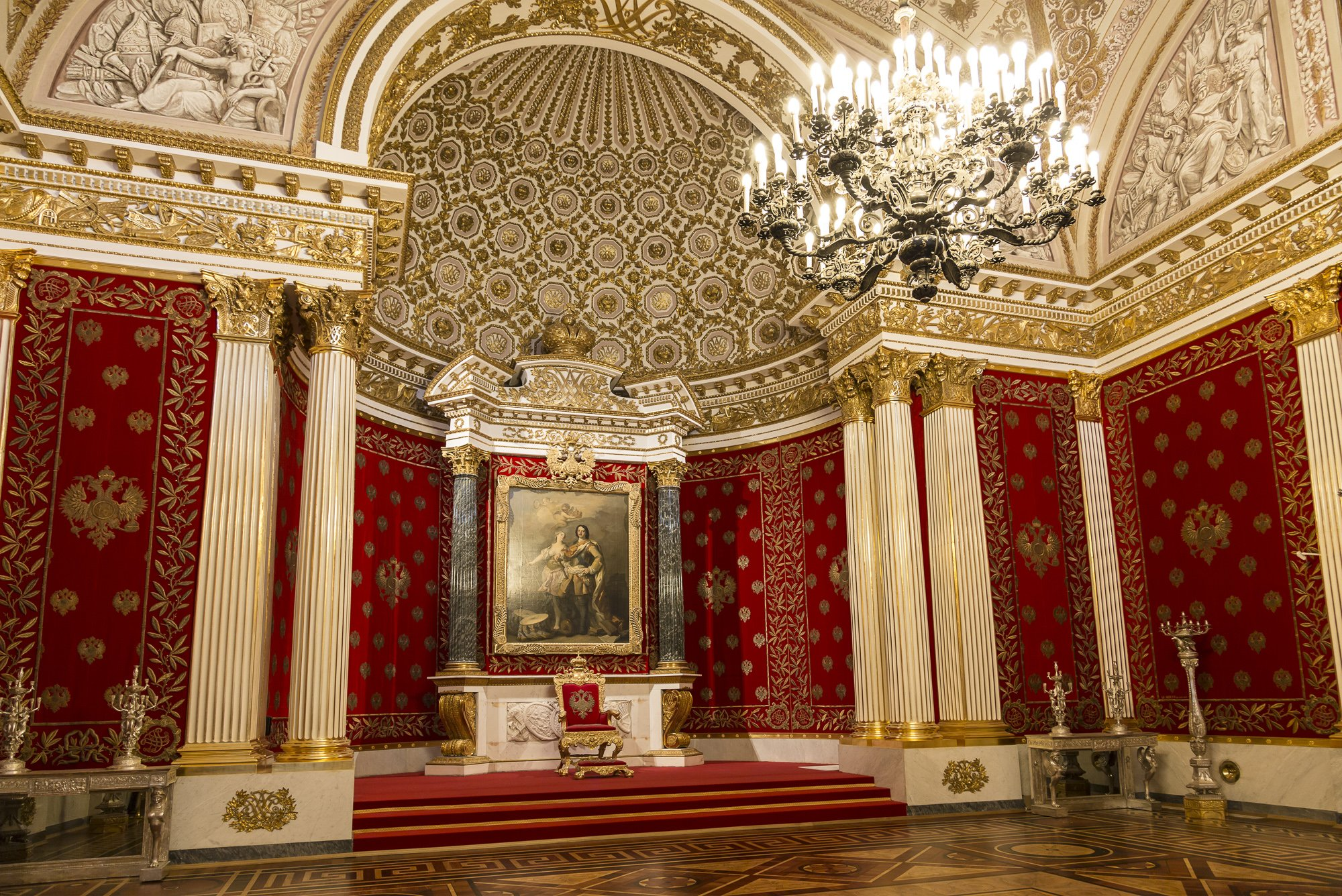 Petrovsky or small throne room in Hermitage, St. Petersburg