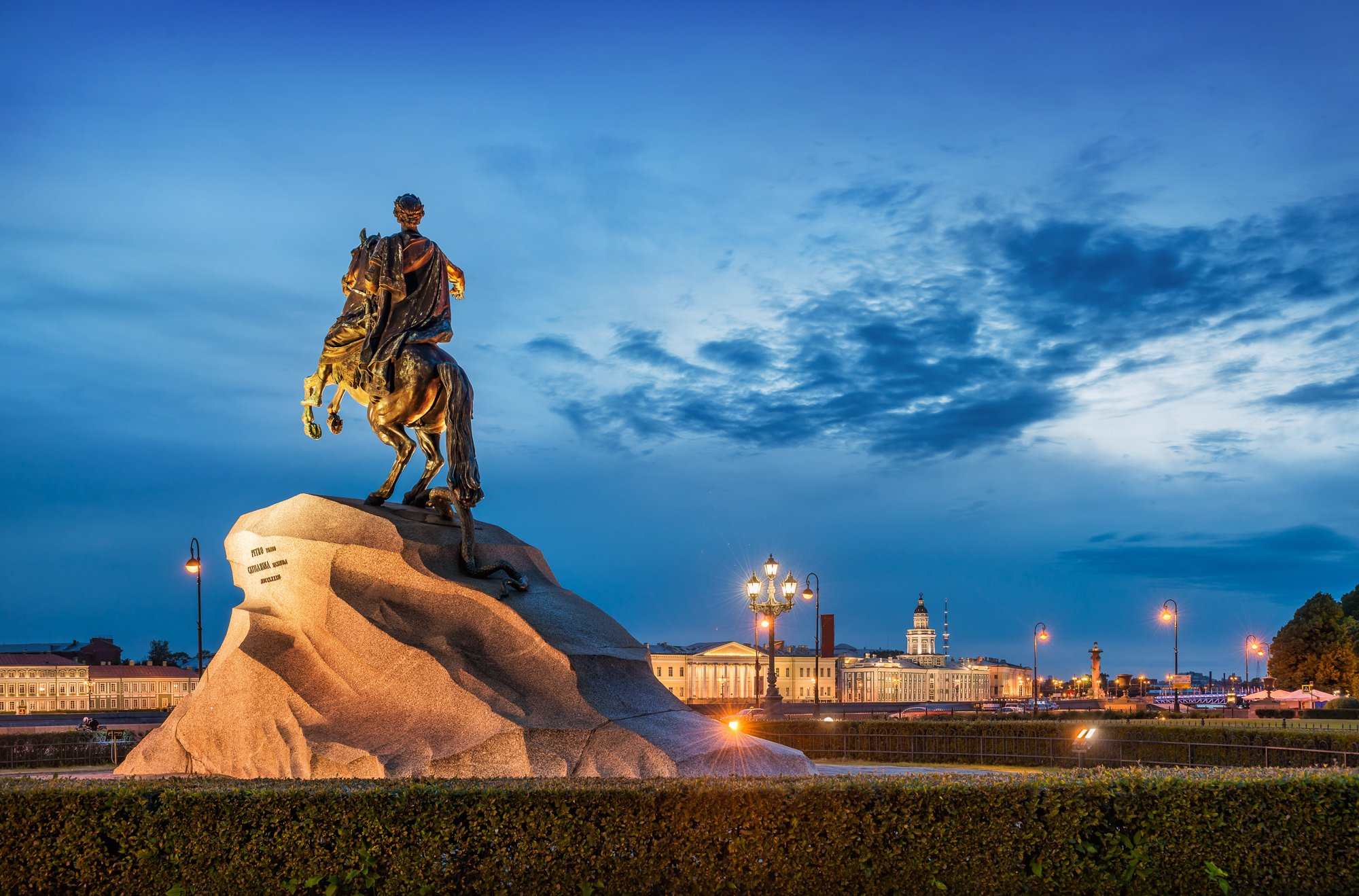 3 days in St Petersburg: visit Monument to Peter the Great on the Senate Square in St. Petersburg in the evening light of a white summer night