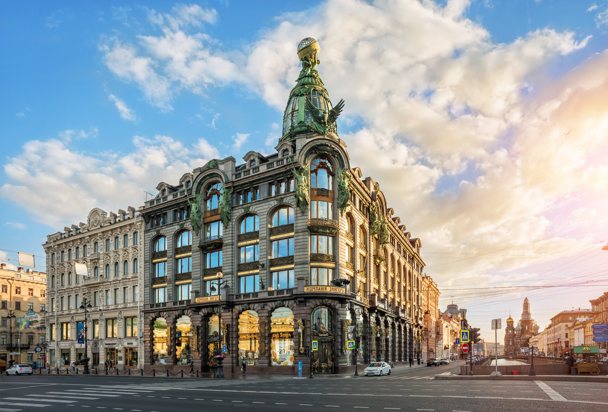 Singer House on Nevsky Prospekt in St. Petersburg, lit by the morning summer sun
