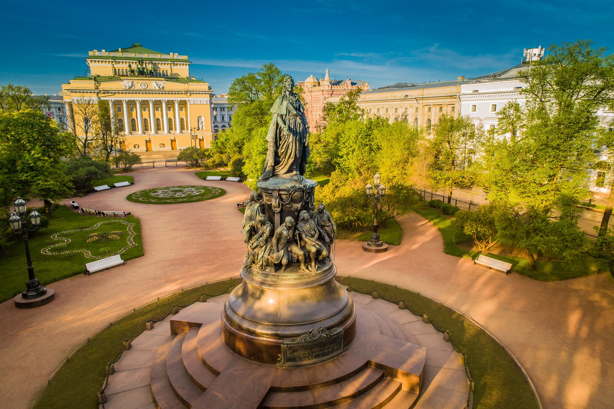 Monument to Catherine The Great in St Petersburg, Russia with the view on Alexandrinsky Theatre