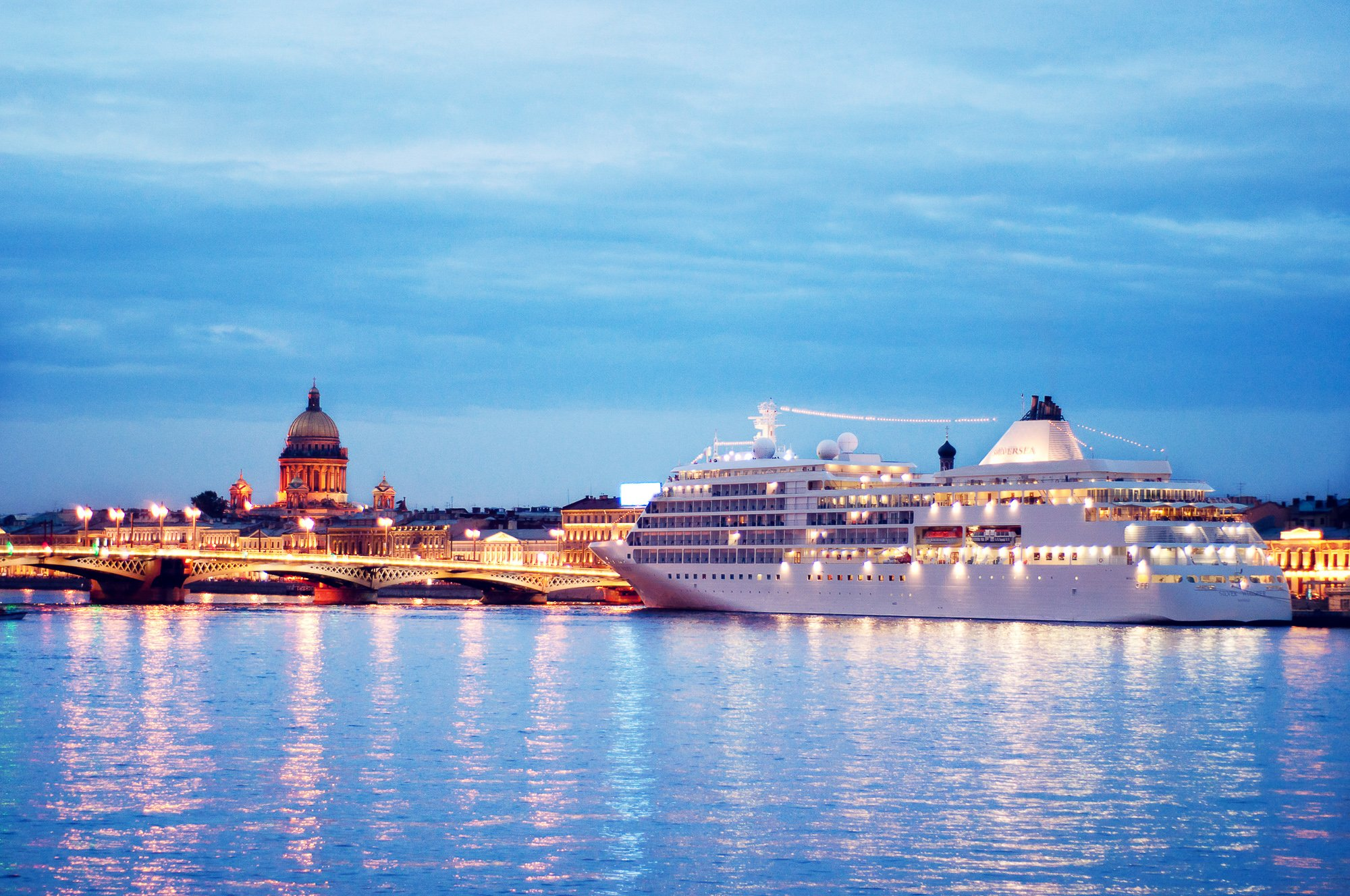 Cruise ship on Neva river in St Petersburg