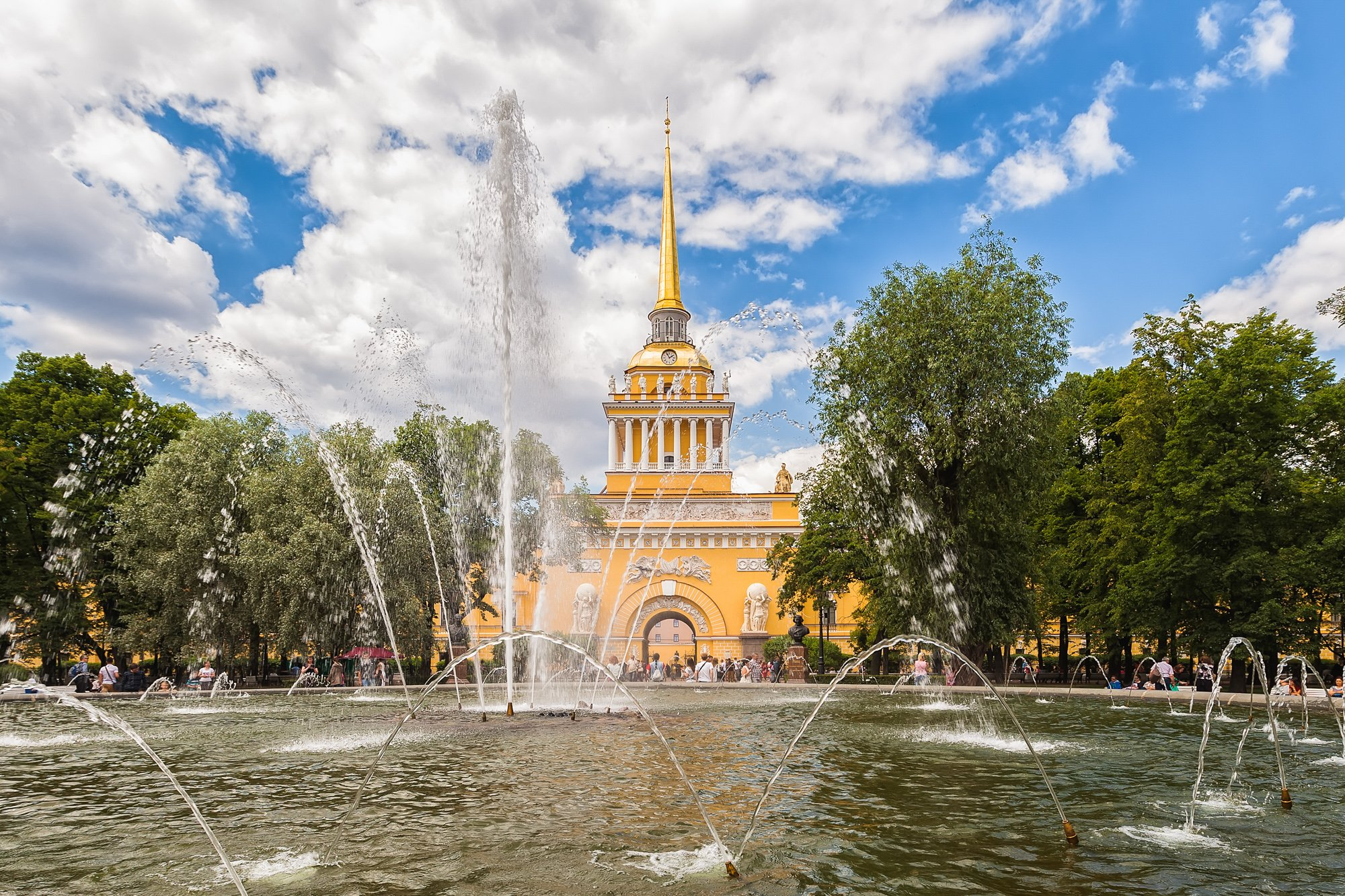 Admiralty building and fountain in the garden in Saint Petersburg, Russia