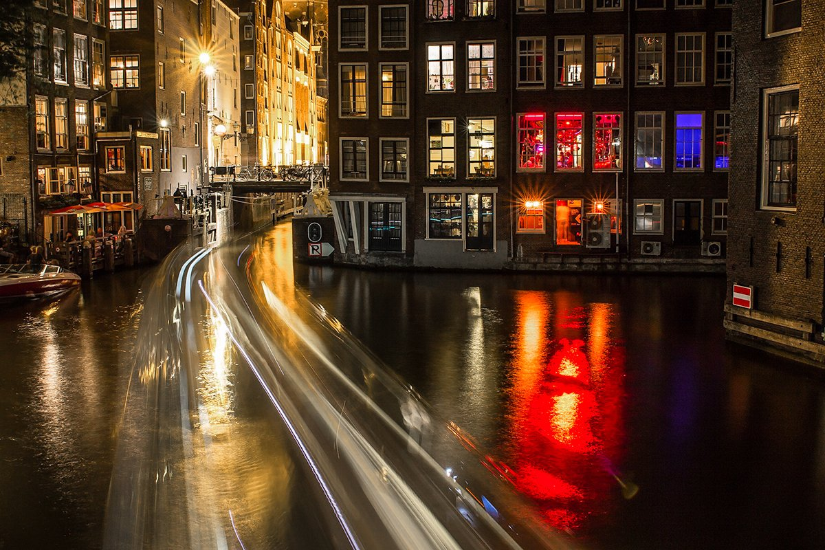Amsterdam Red Light District during night
