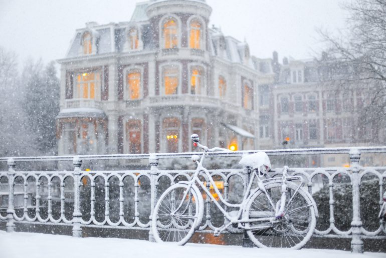 Amsterdam in winter covered with snow
