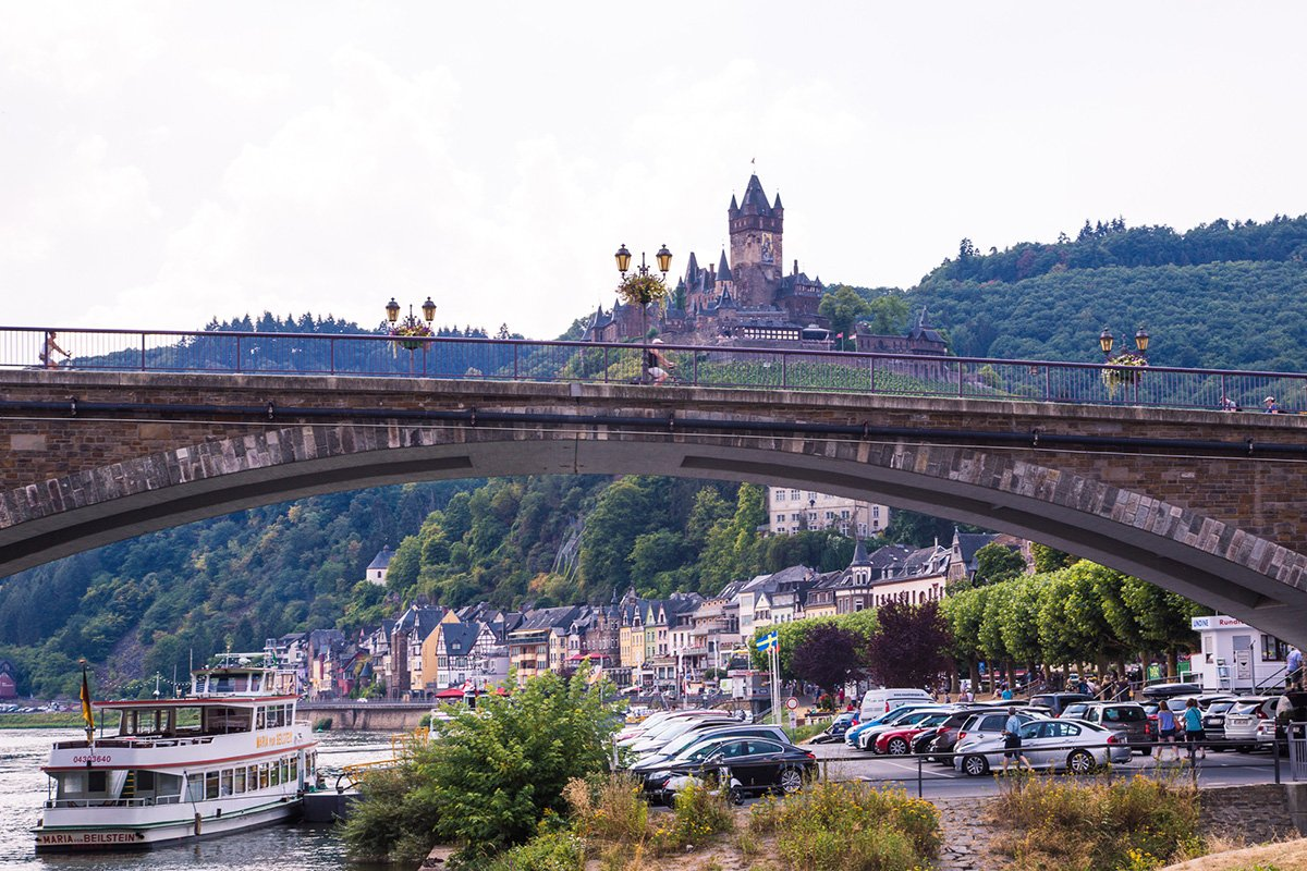 View on Cochem in Moselle Valley with the castle on the hill
