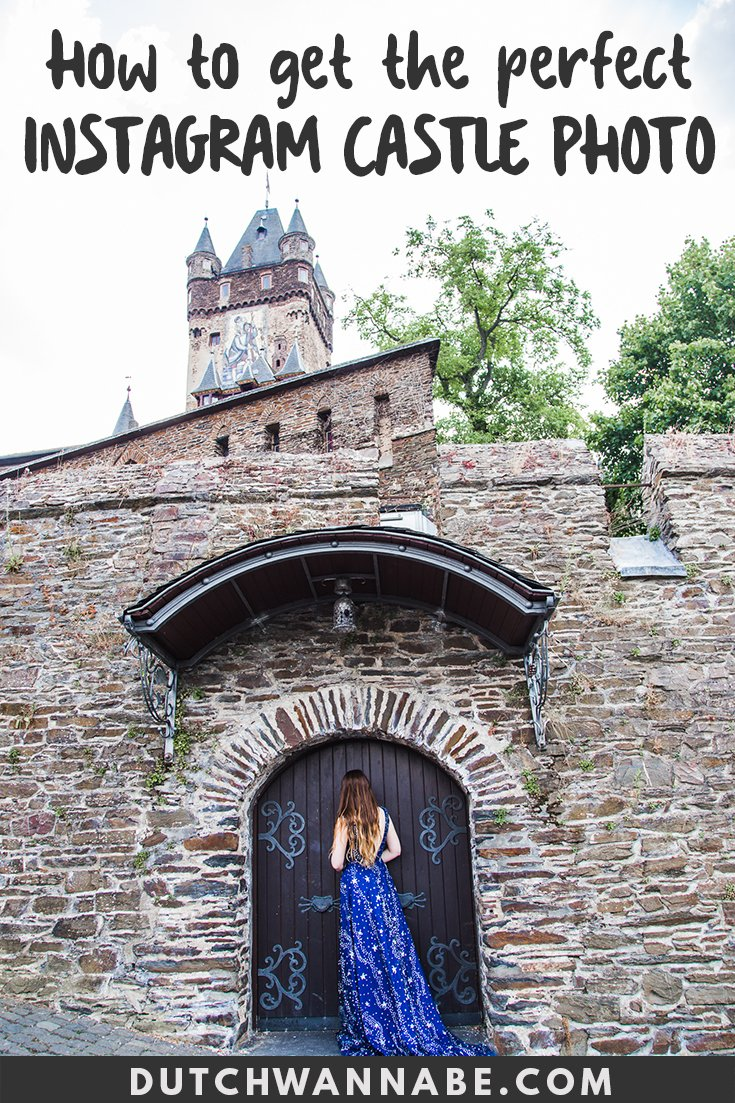 My Hilarious Quest For Instagram Perfection in Cochem Castle: How to take an Instagram worthy picture in a pretty dress in front of a castle and ruin your vacation in the process: a practical guide. This is a travel story by Dutch Wannabe set in the beautiful Moselle Valley in Germany. #travel #europe #cochem #germany