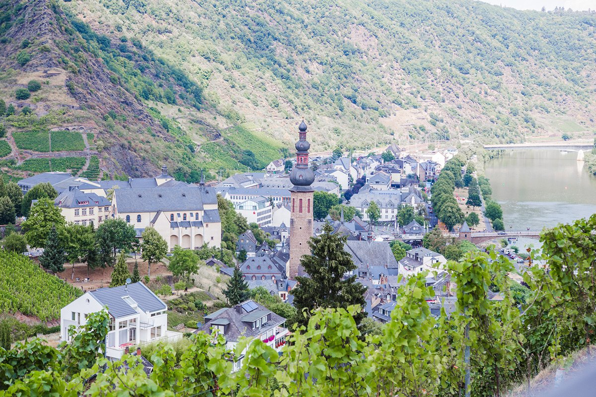 View of the Cochem village in Moselle valley