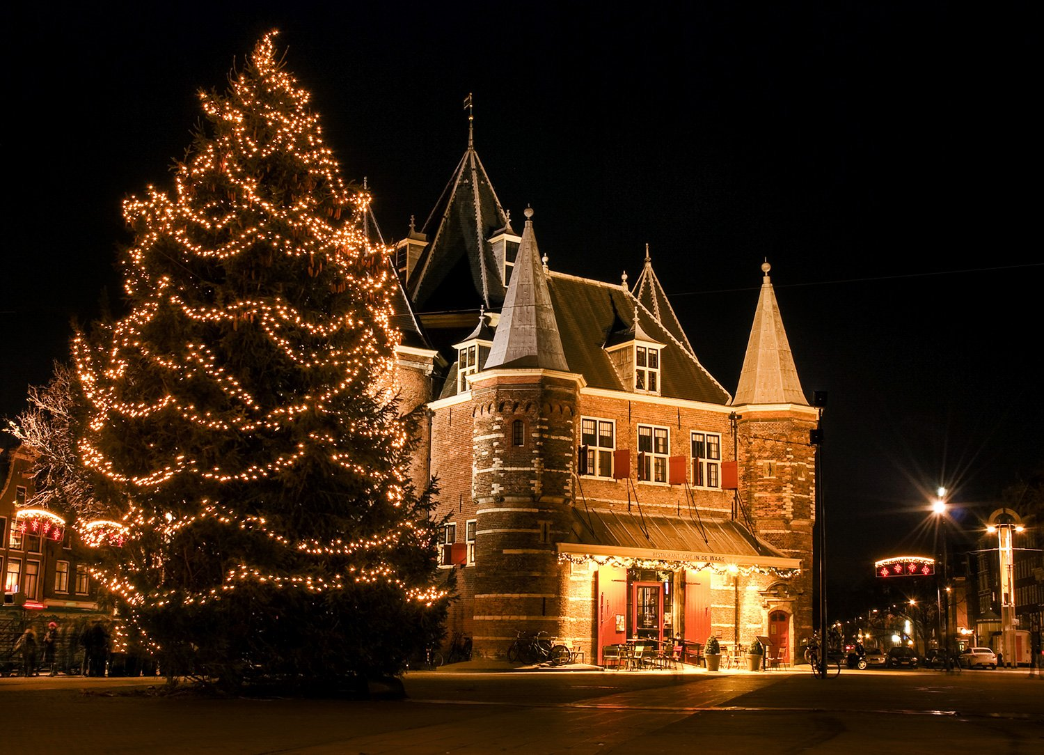 De Waag restaurant during Christmas in Amsterdam