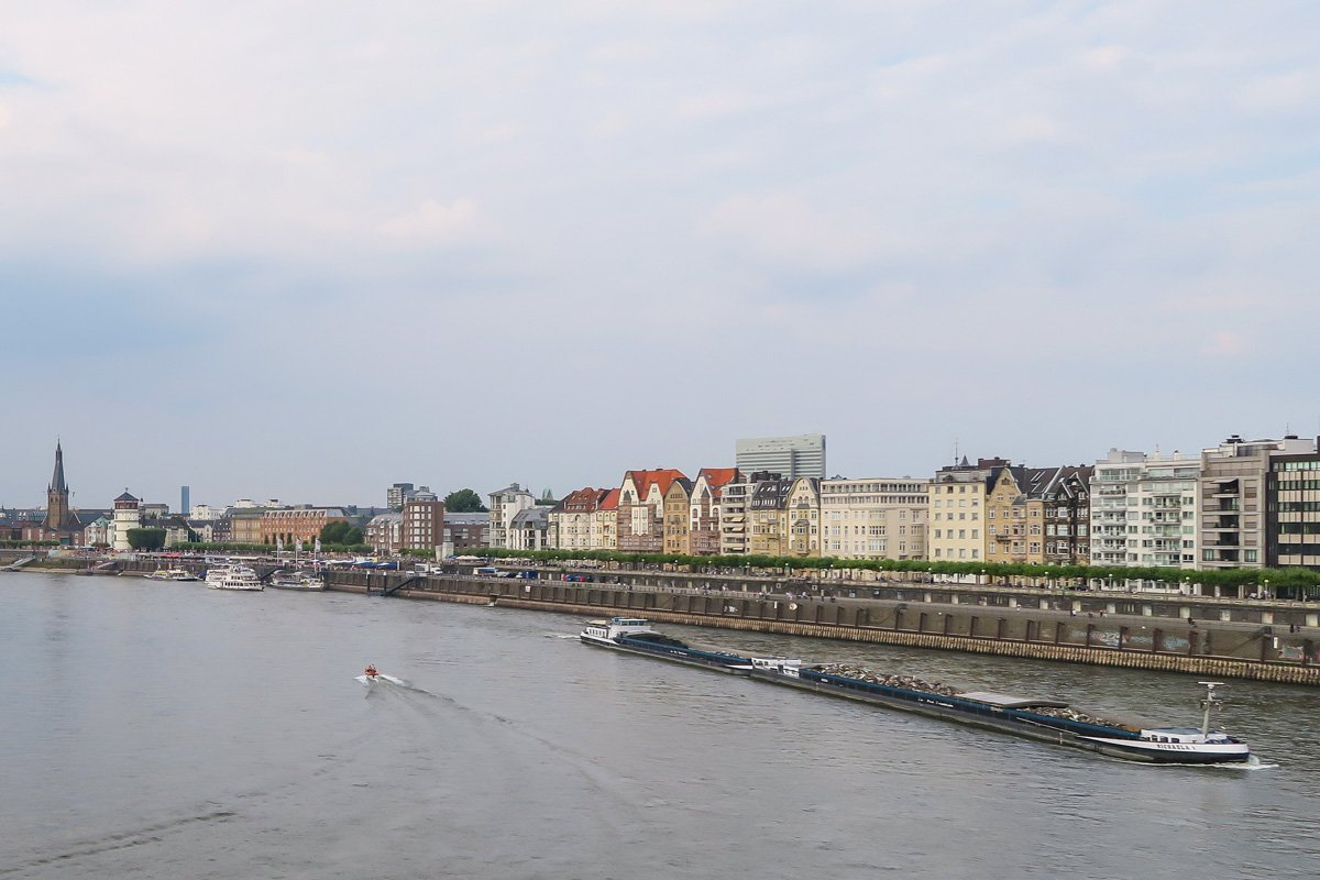 View on the Rhein river and the promenade of Dusseldorf with a direct line to the Altstadt Old Town