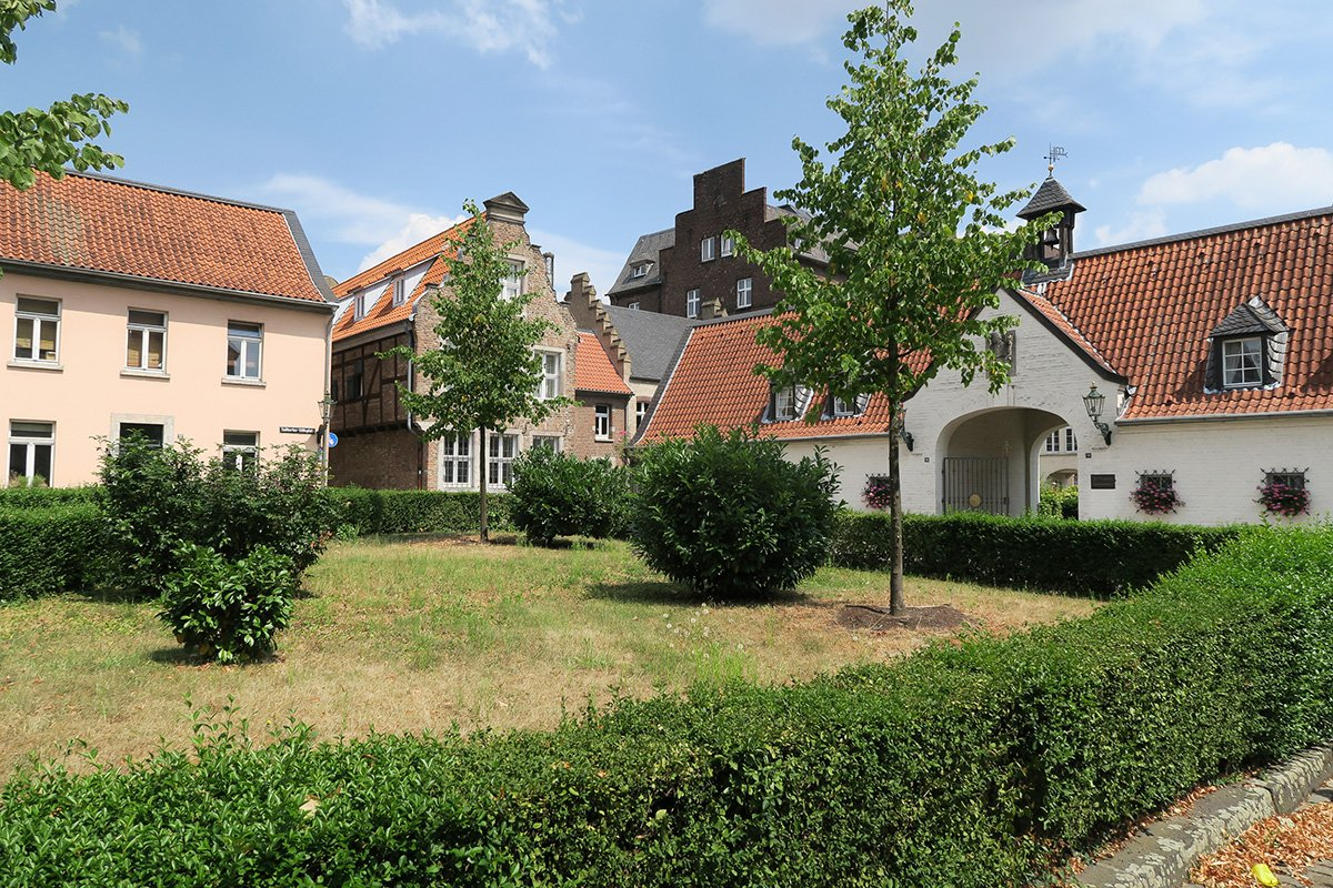 View of the courtyard at Düsseldorf Kaiserswerth next to the local hospital and timbered houses