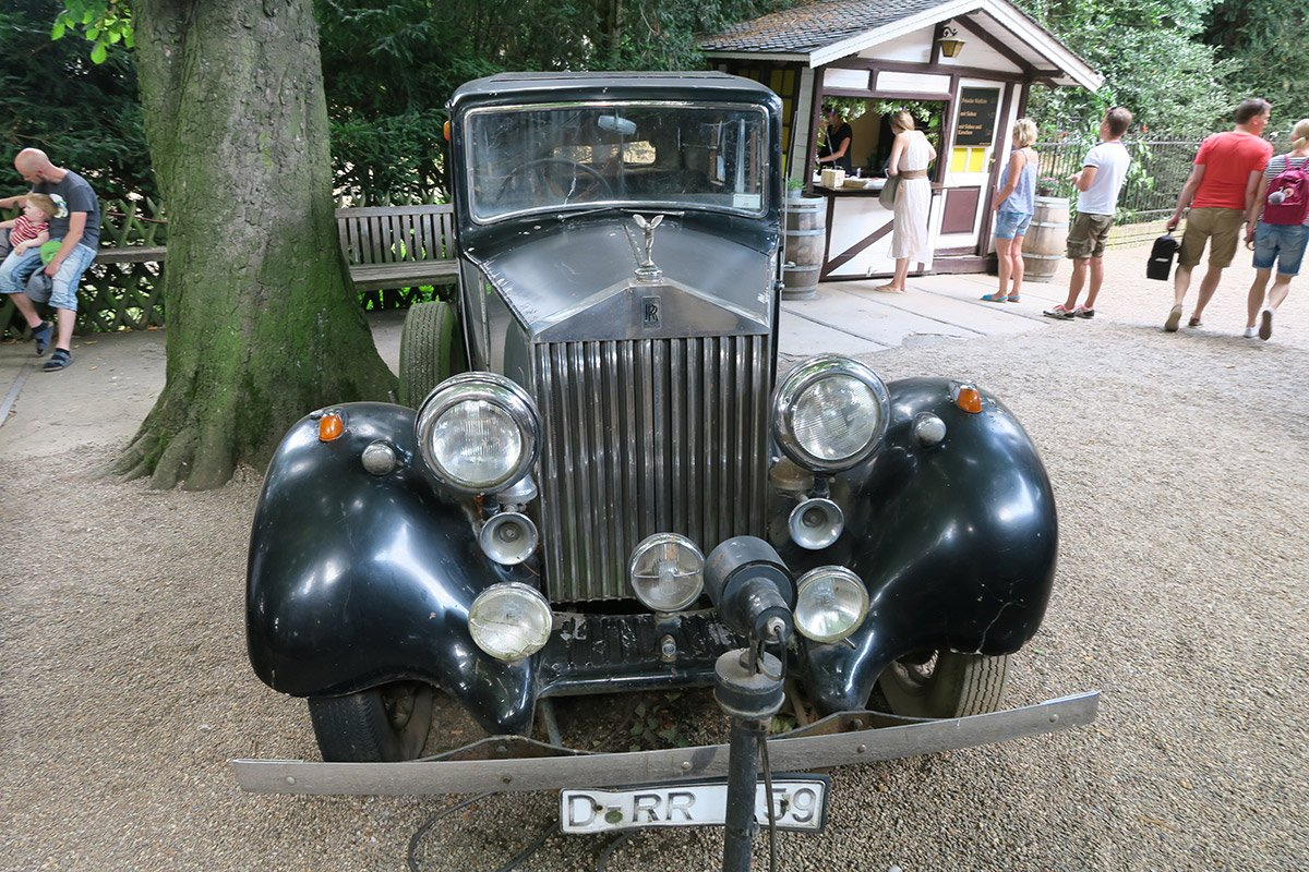 Old Rolls Roys car at the Biergarten of Dusseldorf Kaiserswerth