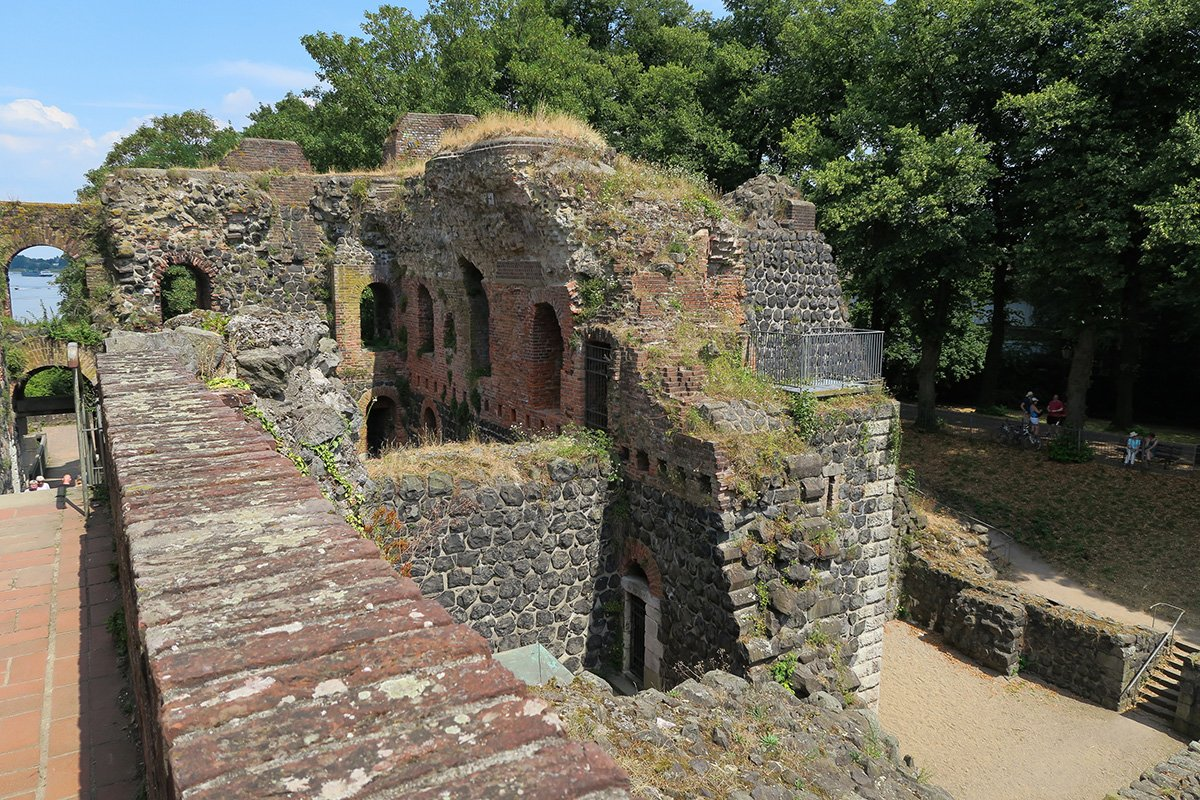 View of the Kaiserpfalz ruins in Düsseldorf Kaiserswerth