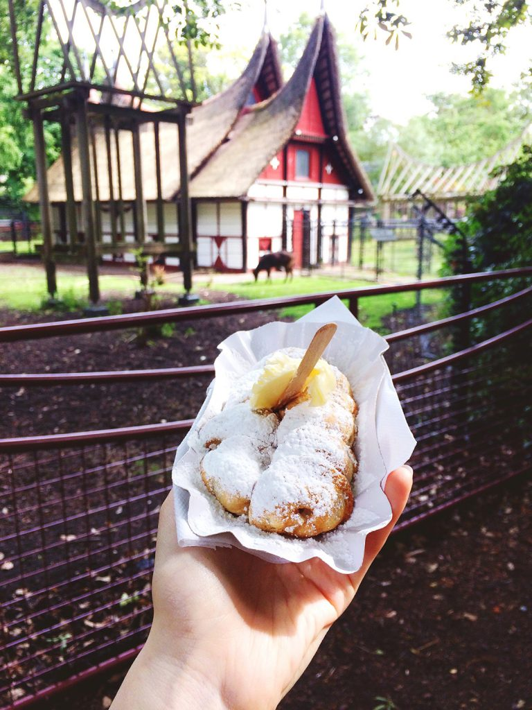 Eating poffertjes in Artis zoo in Amsterdam