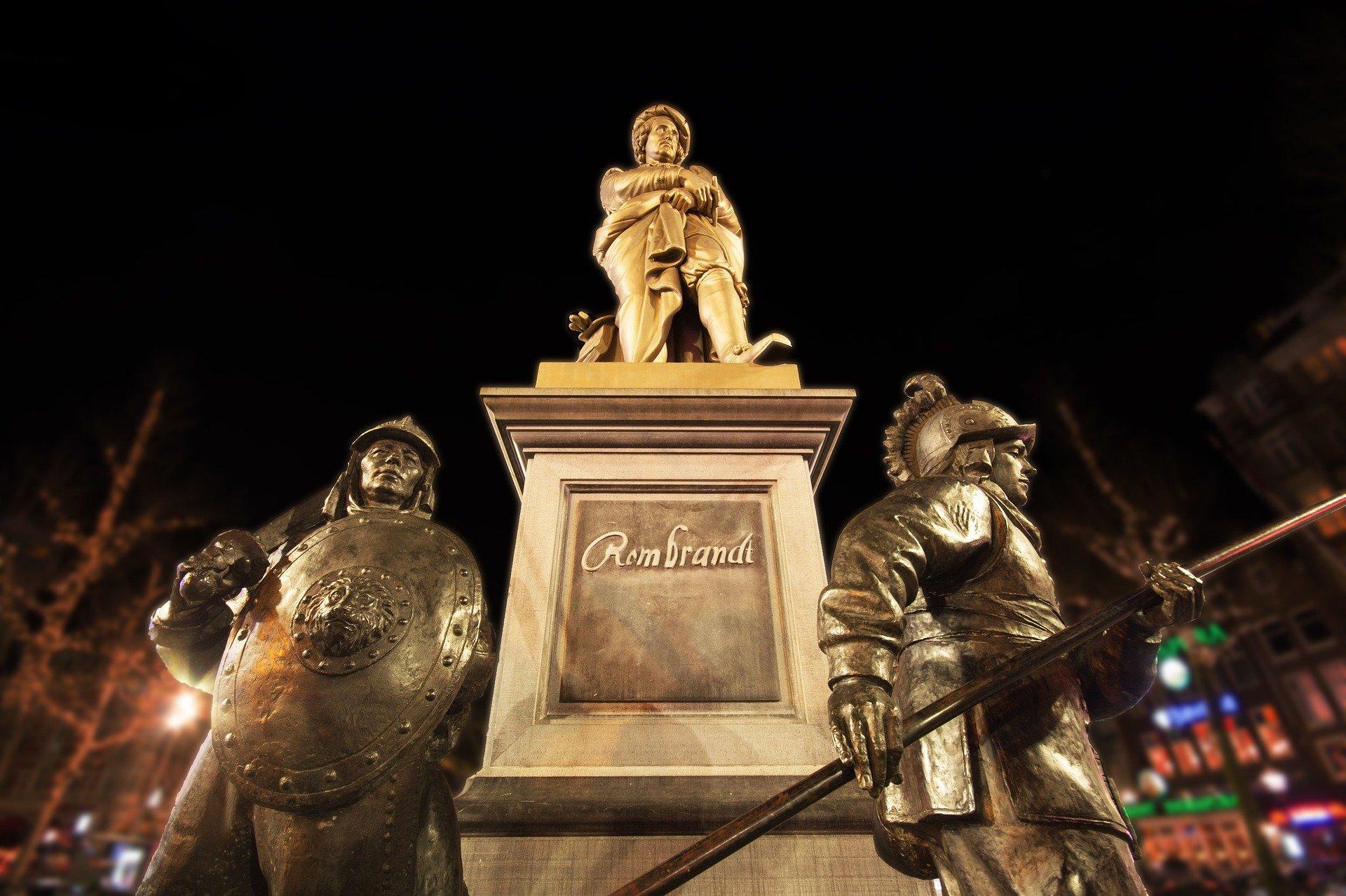 Statue de Rembrandt à Amsterdam Pays-Bas