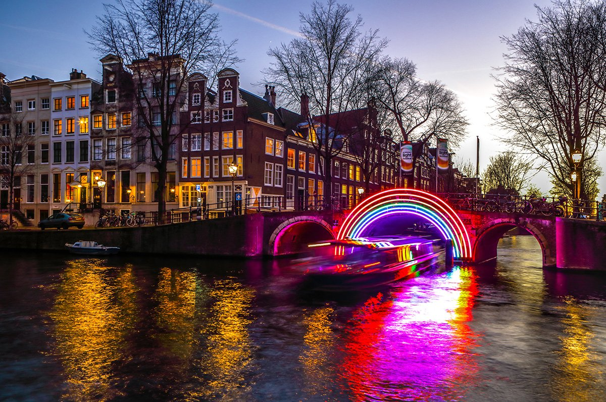 Top things to do in Amsterdam: take a boat tour during Amsterdam Light Festival