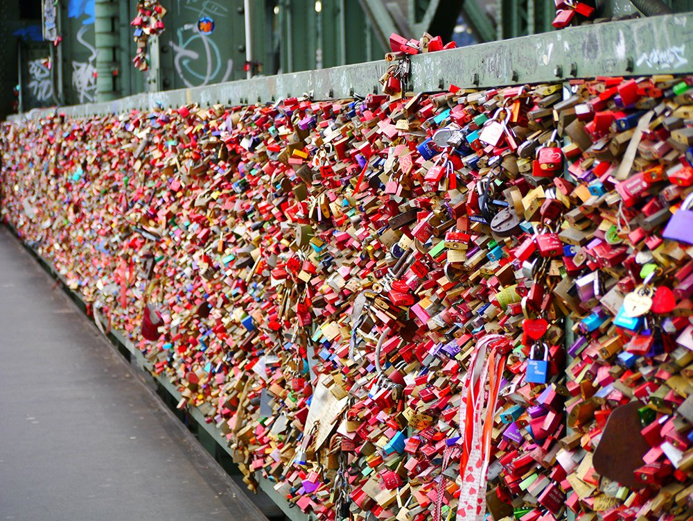 Bridge covered with colorful locks in Cologne