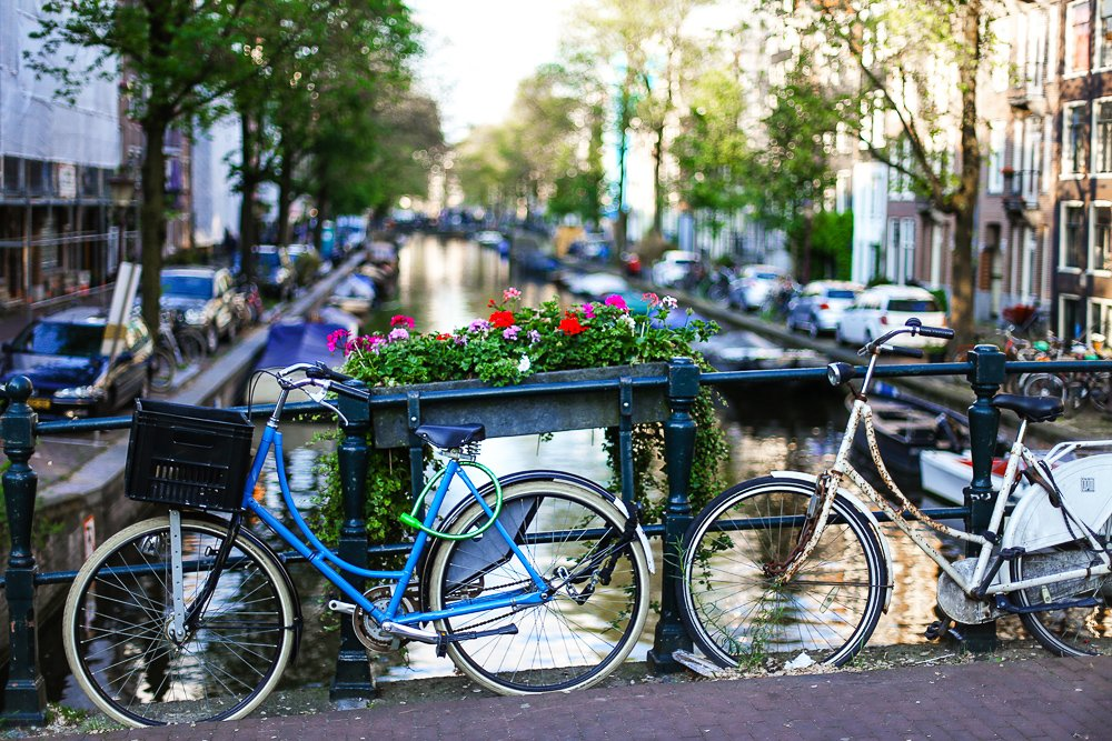 Bicycles on a canal in Amsterdam in spring: best time to visit Amsterdam