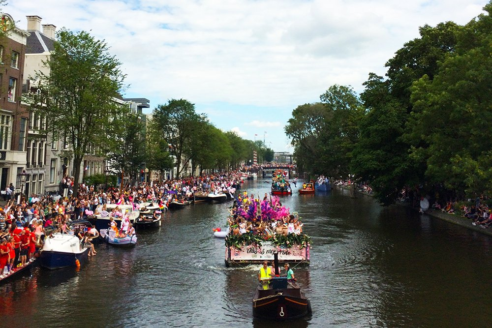 Amsterdam Gay Pride Parade in August