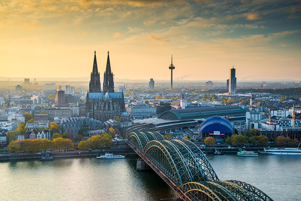Morning view of Cologne city skyline