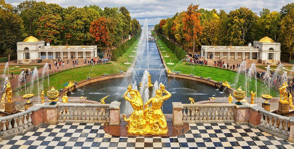 View on Peterhof fountains cascade