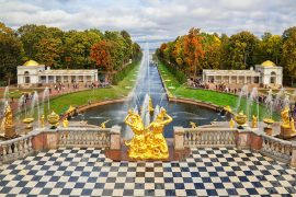 View on Peterhof fountains cascade