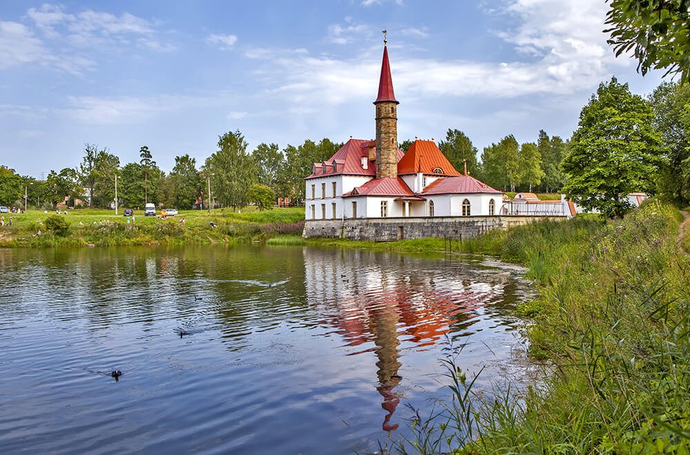 The Priory Palace on a lake in Gatchina