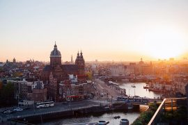 Best views in Amsterdam sunset at Sky Lounge Double Tree Hilton