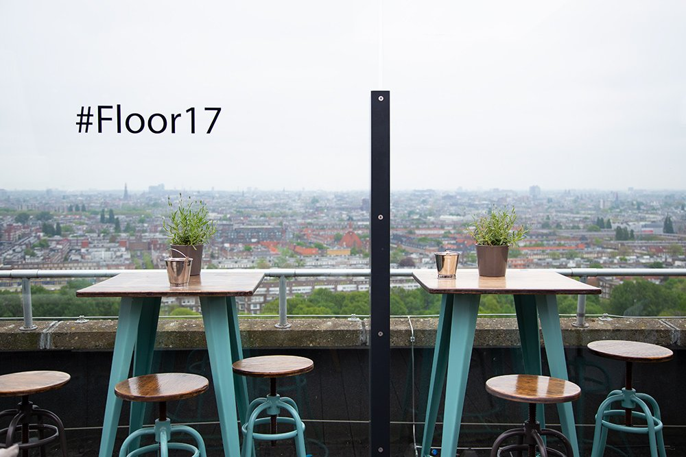 Floor 17 open roof terrace in Amsterdam