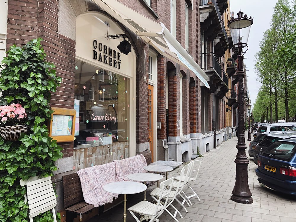 Front of the Corner Bakery cafe in Amsterdam: cute instagrammable brunch spot