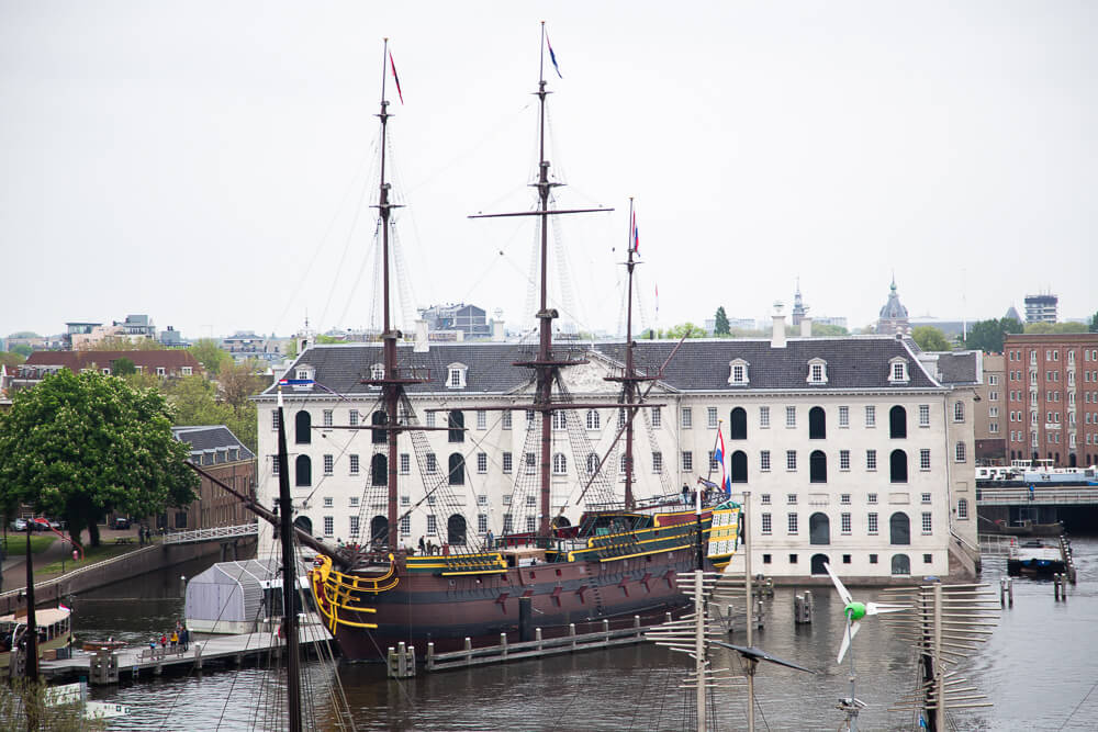 18th century ship outside the National Maritime museum in Amsterdam