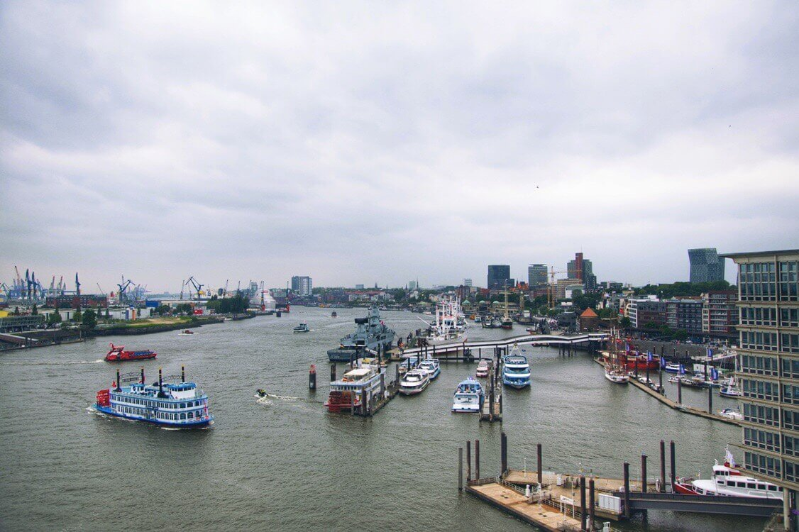 View from the Elbphilharmonie in bad weather