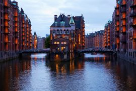 Hamburg weekend evening illumination on the Speicherstadt