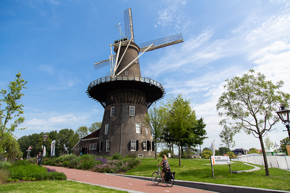Museum de Valk windmill in Leiden on a sunny day
