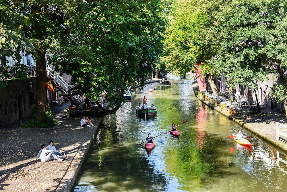 Kayaking on the Utrecht canals