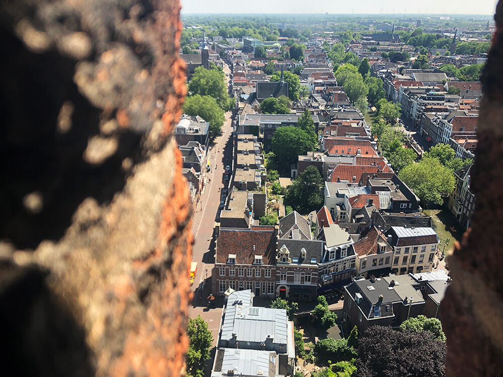 Aerial birds eye view on Utrecht from the Dom Tower