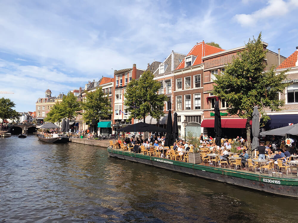 Cafe boat in Leiden canals