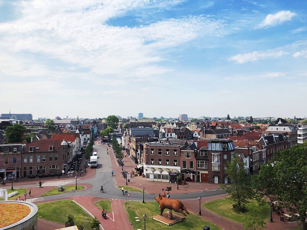 City view of Leiden from the Museum de Valk windmill