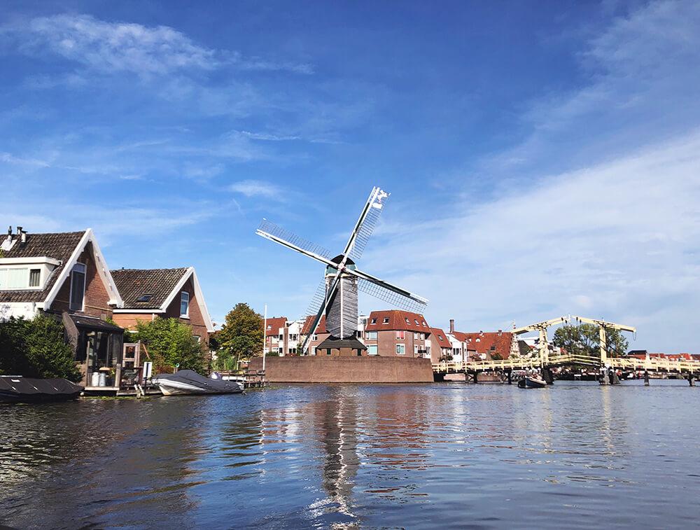 Molen De Put Leiden view from the water