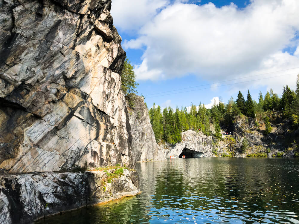 Ruskeala marble canyon in Karelia