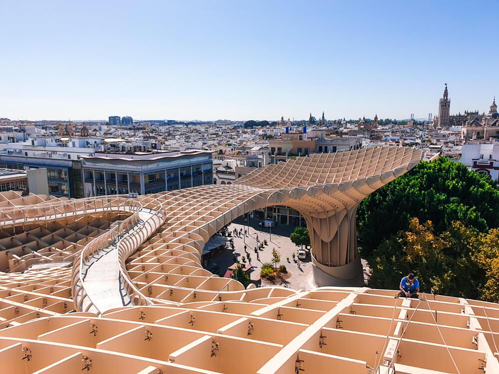 View on Seville from Las Setas platform