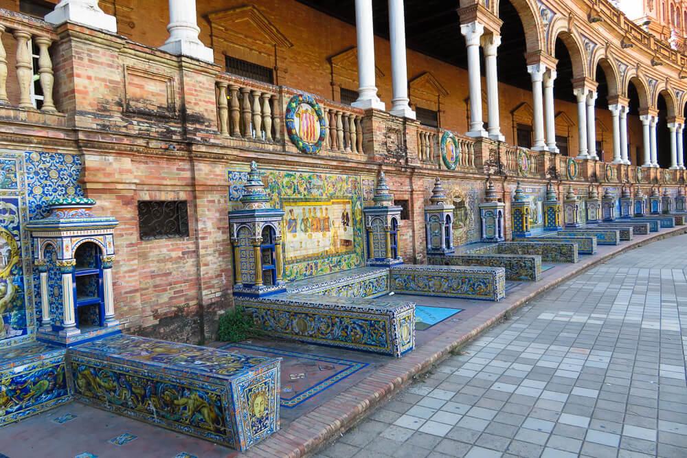 Porticos at the Plaza de Espana in Seville