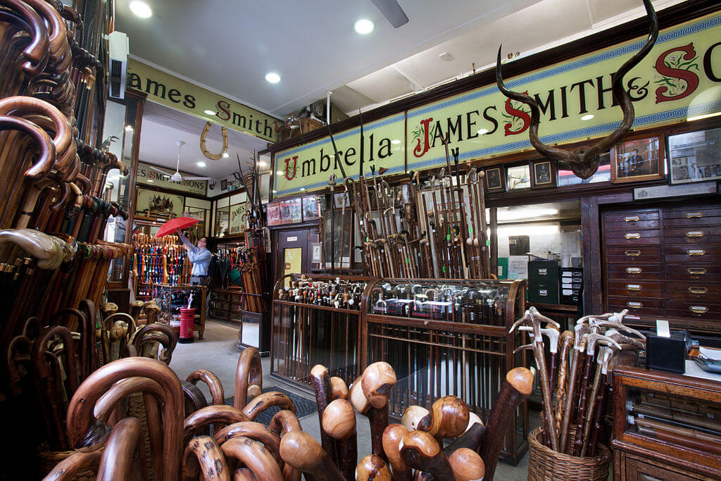 Unusual things to do in London: go umbrella shopping at the James Smith and Sons London Umbrella Shop